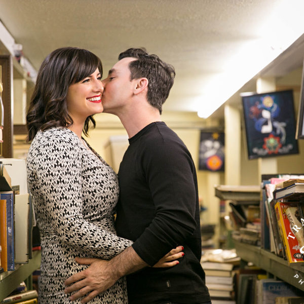 Lauren & Doug - Mini Engagement Session at Back Door Vintage Books in Fort Worth