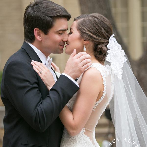 Leigh & Evan - Wedding First Look at FUMC Courtyard